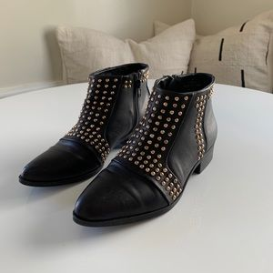 Black and Gold Studded Faux Leather Booties